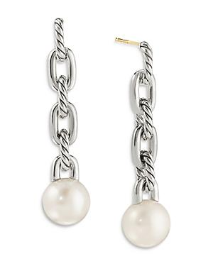 David Yurman Sterling Silver Dy Madison Cultured Freshwater Pearl Chain Drop Earrings