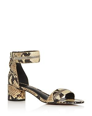 Rebecca Minkoff Women's Ortenne Too Snake-embossed Block-heel Sandals