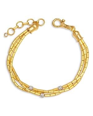 Gurhan 24k/22 Yellow Gold & 18k White Gold Diamond Pave Triple Strand Vertigo Bracelet