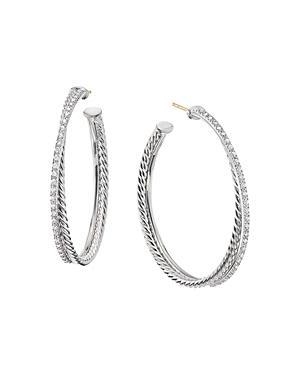 David Yurman Sterling Silver Crossover Hoop Earrings With Diamonds