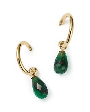 Emerald Small Hoop Earrings In 14k Yellow Gold - 100% Exclusive