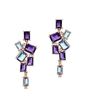 Bloomingdale's Diamond, Amethyst & Tanzanite Drop Earrings In 14k Rose Gold - 100% Exclusive