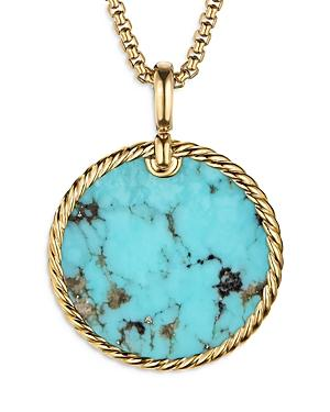 David Yurman 18k Yellow Gold Dy Elements Disc Pendant With Turquoise