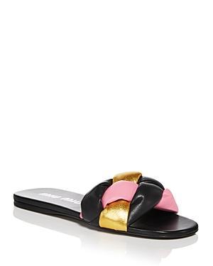 Miu Miu Women's Calzature Donna Slip On Woven Slide Sandals