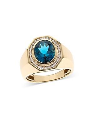 Bloomingdales London Blue Topaz & Diamond Men's Ring In 14k Yellow Gold - 100% Exclusive
