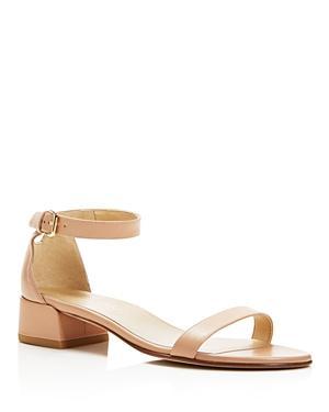 Stuart Weitzman Nudistjune Leather Ankle Strap Block Heel Sandals