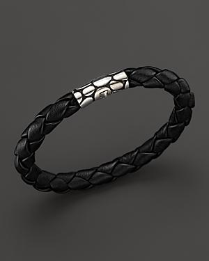 John Hardy Men's Kali Silver Black Woven Leather Bracelet