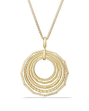 David Yurman Stax Pendant Necklace With Diamonds In 18k Gold
