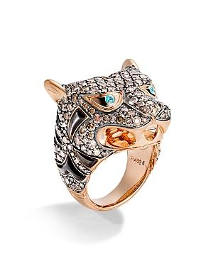 John Hardy 18k Rose Gold Cinta Collection One-of-a-kind Macan Black Mother-of-pearl Ring With Brown Diamonds & Paraiba Tourmaline - 100% Exclusive