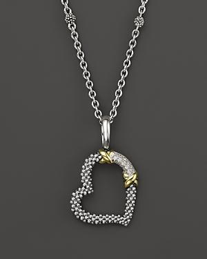 Lagos 18k Gold And Sterling Silver Xx Heart Pendant Necklace With Diamonds, 16