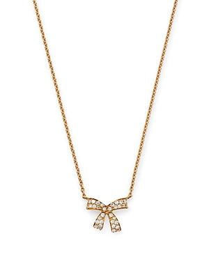 Hueb 18k Yellow Gold Romance Diamond Bow Pendant Necklace, 16