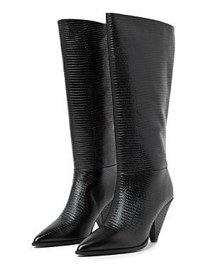 The Kooples Women's Pointed Toe Lizard Embossed Boots