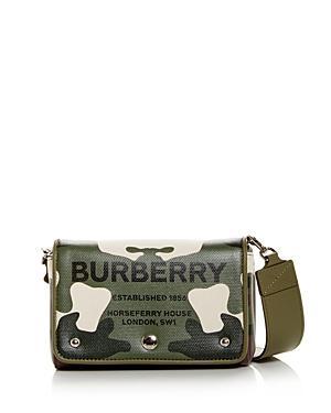 Burberry Hackberry Camo Print Coated Canvas Crossbody