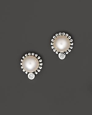 Lagos Luna Sterling Silver Diamond And Cultured Freshwater Pearl Stud Earrings