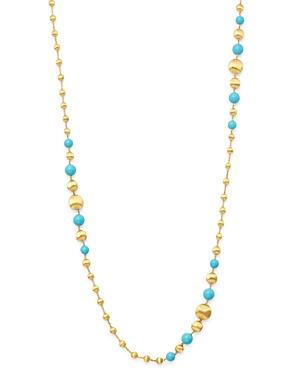 Marco Bicego 18k Yellow Gold Africa Turquoise Long Beaded Station Necklace, 36