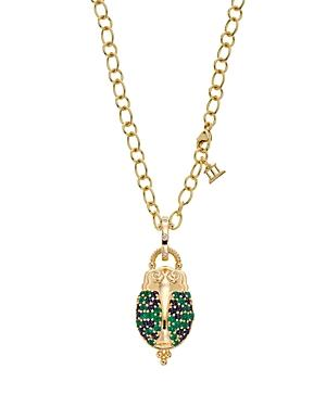 Temple St. Clair 18k Yellow Gold Scarab Pendant With Sapphire, Emerald, And Diamonds
