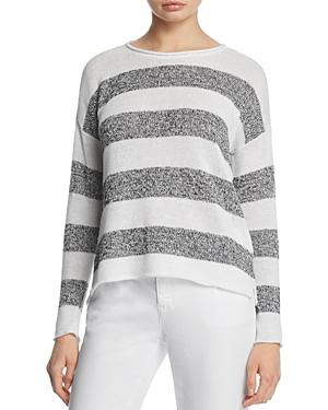 Eileen Fisher Petites Striped Organic Linen Sweater