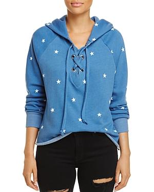 Wildfox Hutton Lace-up Star Print Sweatshirt - 100% Exclusive