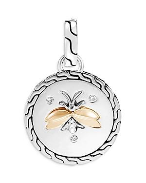 John Hardy Classic Chain Sterling Silver & 18k Yellow Gold Diamond Amulet Pendant
