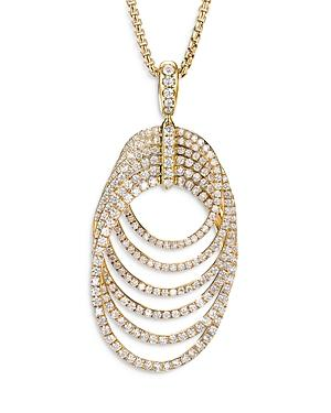 David Yurman 18k Yellow Gold Dy Origami Pendant Necklace With Diamonds, 32