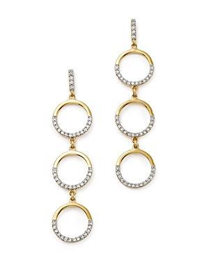 Mateo 14k Yellow Gold Triple Circle Dangle Earrings With Diamonds