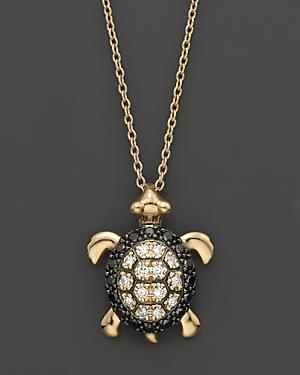 Diamond Turtle Pendant In 14k Yellow Gold, 0.15 Ct. T.w.
