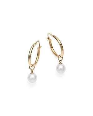 Mateo 14k Yellow Gold Pearl Charm Hoop Earrings