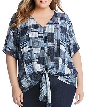 Karen Kane Plus Patchwork-print Tie-front Top