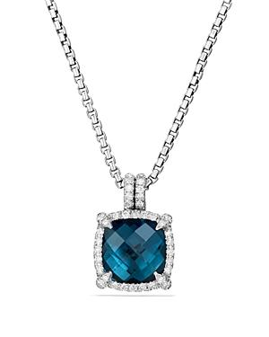 David Yurman Chatelaine Pave Bezel Pendant Necklace With Hampton Blue Topaz And Diamonds