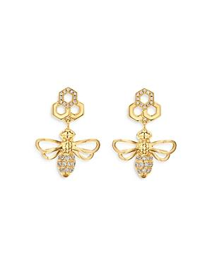 Temple St. Clair 18k Yellow Gold Bee Diamond Drop Earrings