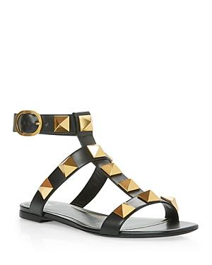 Valentino Garavani Women's Square Toe Pyramid Studded Buckled Sandals
