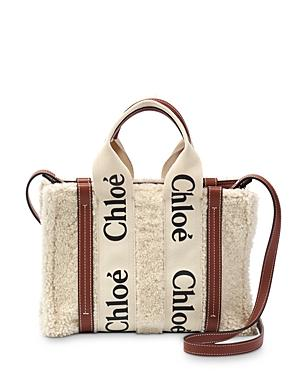 Chloe Woody Leather Trimmed Small Shearling Tote