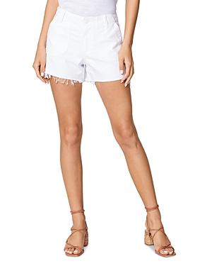 Paige Mayslie Utility Cut-off Jean Shorts In Crisp White