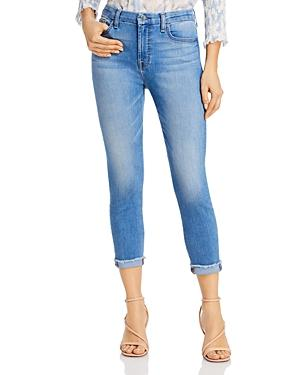 Jen7 By 7 For All Mankind Cropped Frayed Skinny Jeans In Laquinta