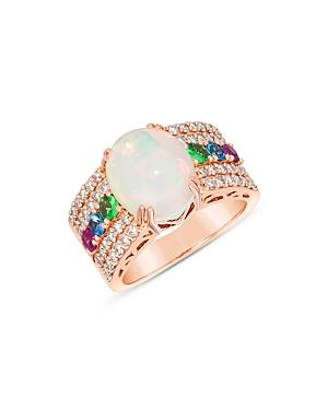Bloomingdale's Multi Gemstone & Champagne Diamond Wide Statement Ring In 14k Rose Gold - 100% Exclusive