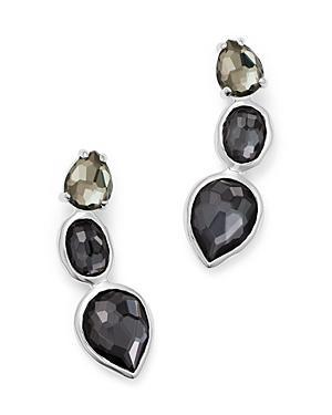 Ippolita Sterling Silver Rock Candy Three Stone Doublet Earrings In Black Tie