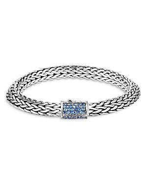 John Hardy Men's Sterling Silver Classic Chain Tiga Blue Sapphire Large Woven Link Bracelet