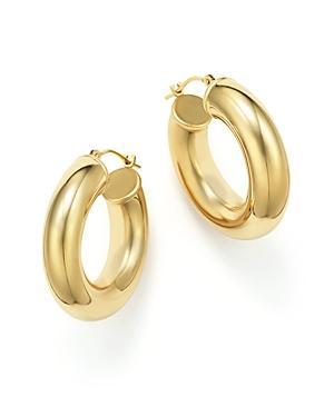 14k Yellow Gold Round Hoop Earrings