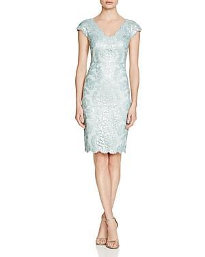Tadashi Shoji V-neck Sequin Dress