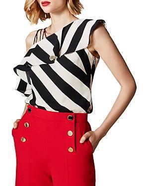 Karen Millen Strappy One-shoulder Striped Top