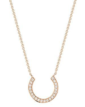 Dana Rebecca Designs 14k Rose Gold Horseshoe Pendant Necklace With Diamonds, 18