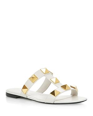 Valentino Garavani Women's Square Toe Pyramid Studded Slide Sandals