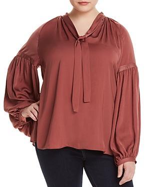 Lucky Brand Plus Tie-neck Blouson-sleeve Top