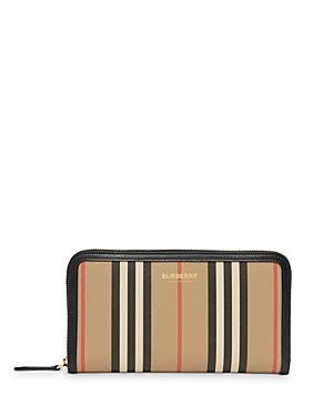 Burberry Icon Stripe E-canvas & Leather Zip-around Wallet