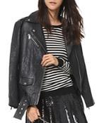 Michael Michael Kors Textured Leather Moto Jacket