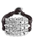 Uno De 50 Tabano Beaded Leather Bracelet
