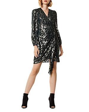 Karen Millen Draped Metallic Jacquard Dress