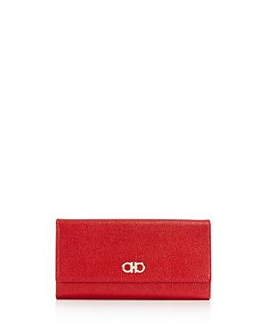 Salvatore Ferragamo Gancini Flap Leather Continental Wallet