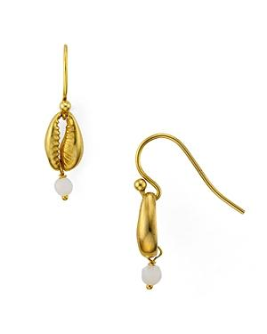 Chan Luu Cowry Shell Drop Earrings In 18k Gold-plated Sterling Silver