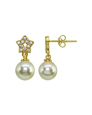 Aqua Pave Star & Cultured Freshwater Pearl Drop Earrings - 100% Exclusive
